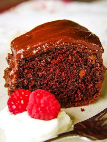 homemade chocolate cake on plate