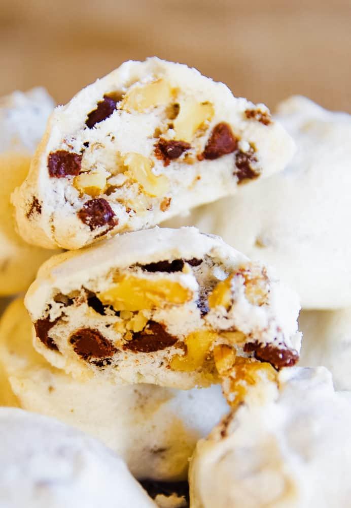 meringue cookies with nuts and dark chocolate
