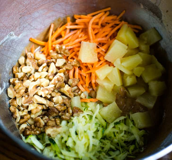 zucchini cake ingredients in bowl