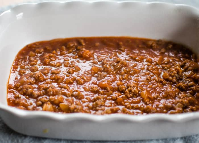 homemade sauce in pan for ground beef casserole