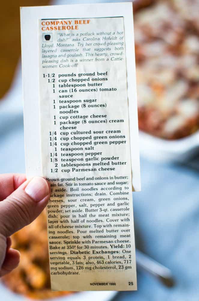 ground beef casserole vintage recipe card