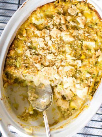hot tuna salad in casserole bowl