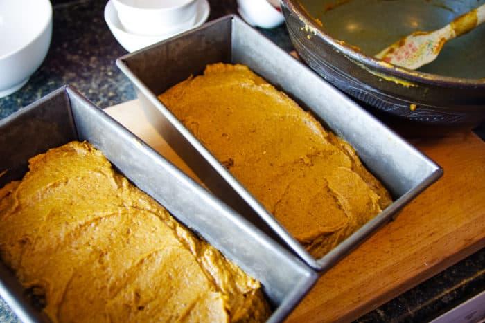 pumpkin bread batter in two loaf pans