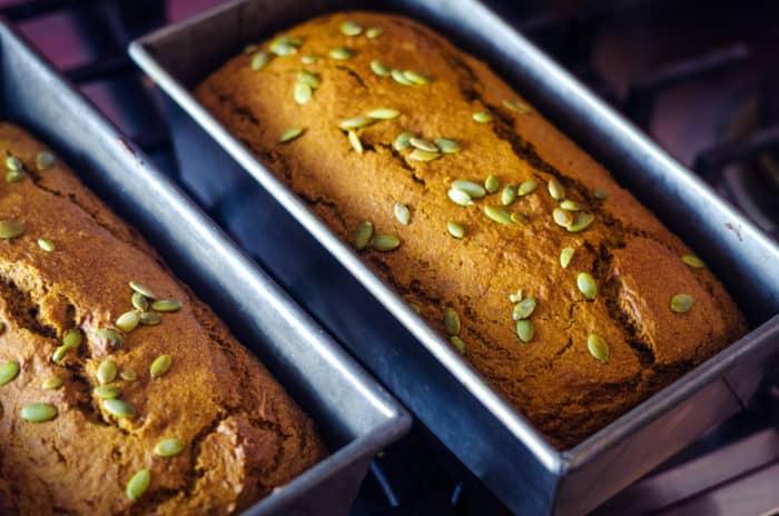 baked pumpkin bread in load pans