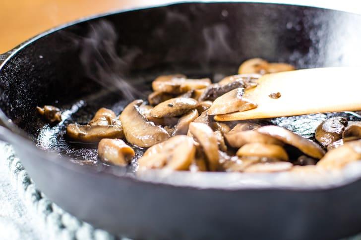 sauted mushrooms in pan for turkey tetrazzini recipe