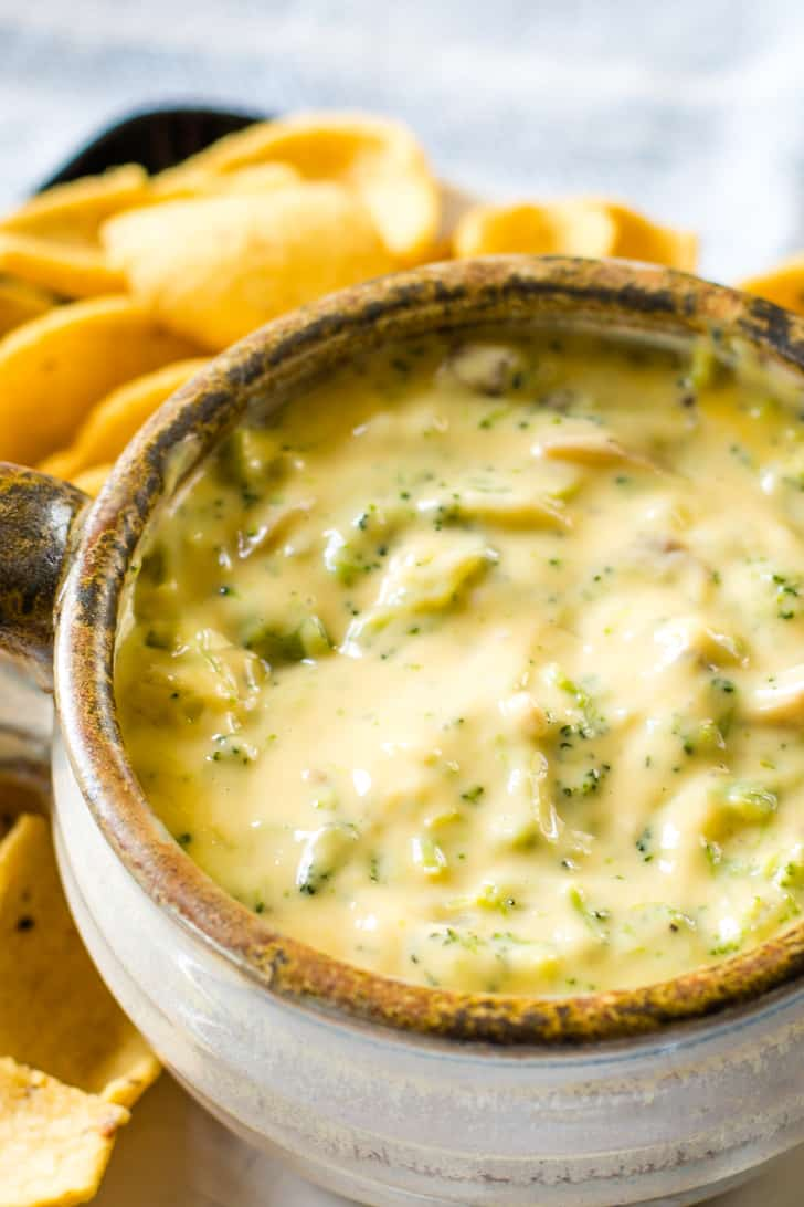 broccoli cheese dip with corn chips