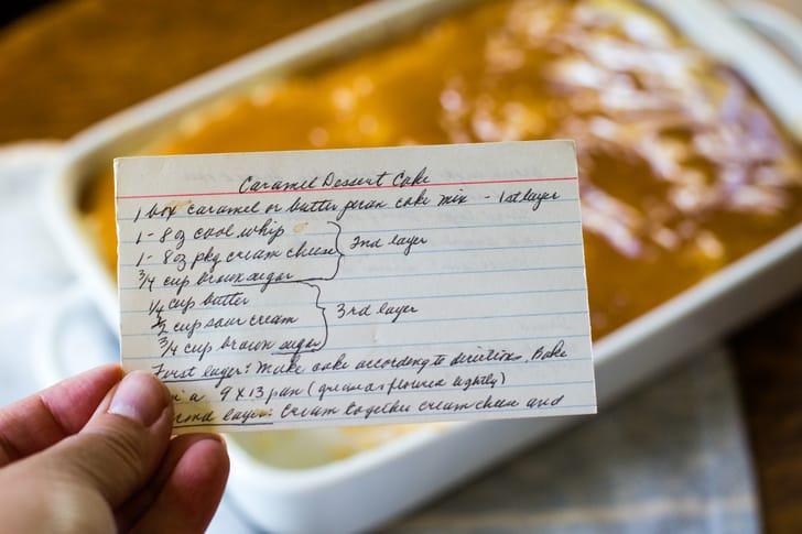 caramel cake old fashioned recipe card