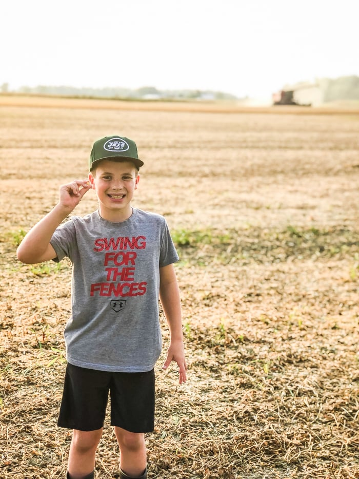 boy with soybean in hand