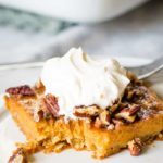 pumpkin pie bars on plate with fork