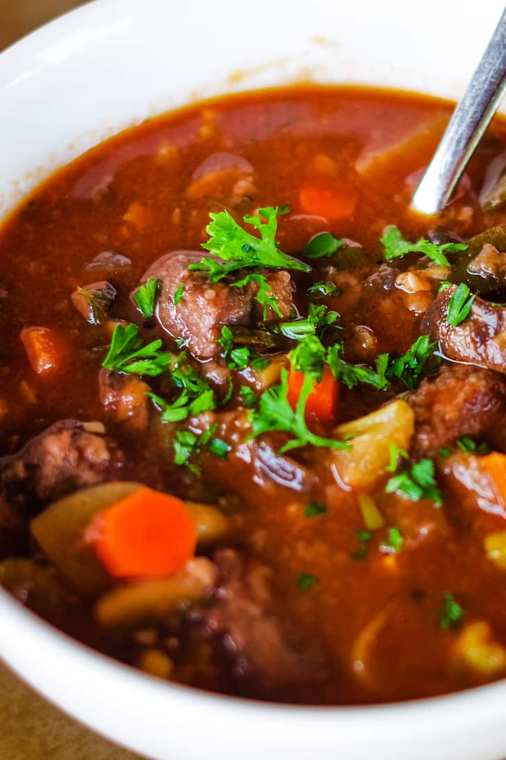 venison stew in bowl with spoon