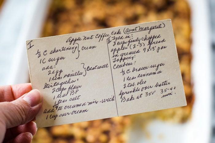 apple nut coffee cake recipe card