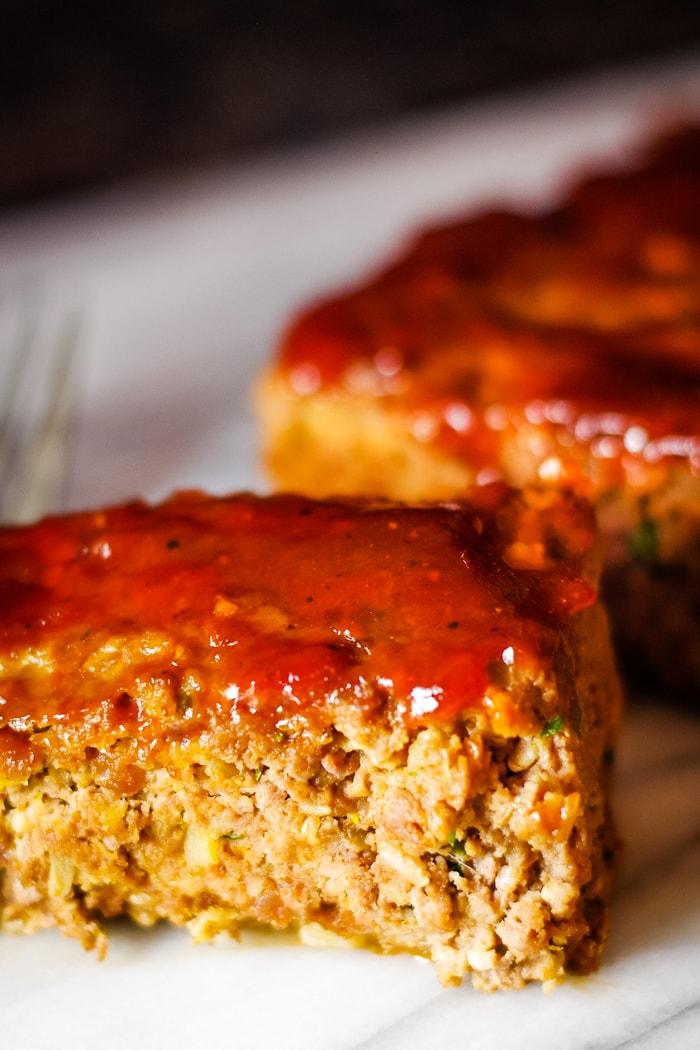venison meatloaf slices on plate