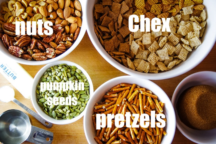 baked ingredients in chex mix