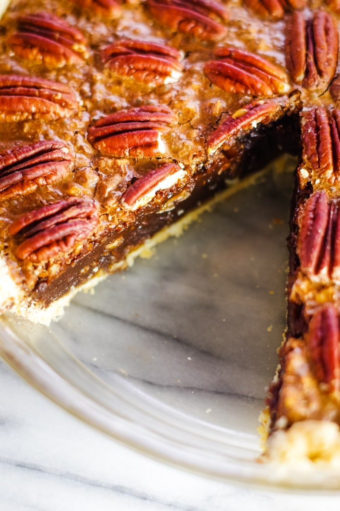 slice out of chocolate pecan pie