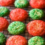 Christmas cookies in red and green on cooling rack