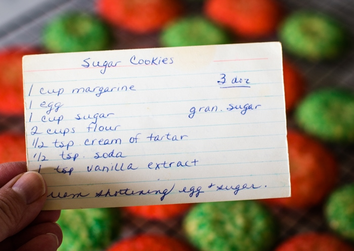 christmas cookie recipe card with ingredients listed