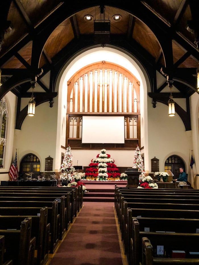 inside church at Christmas