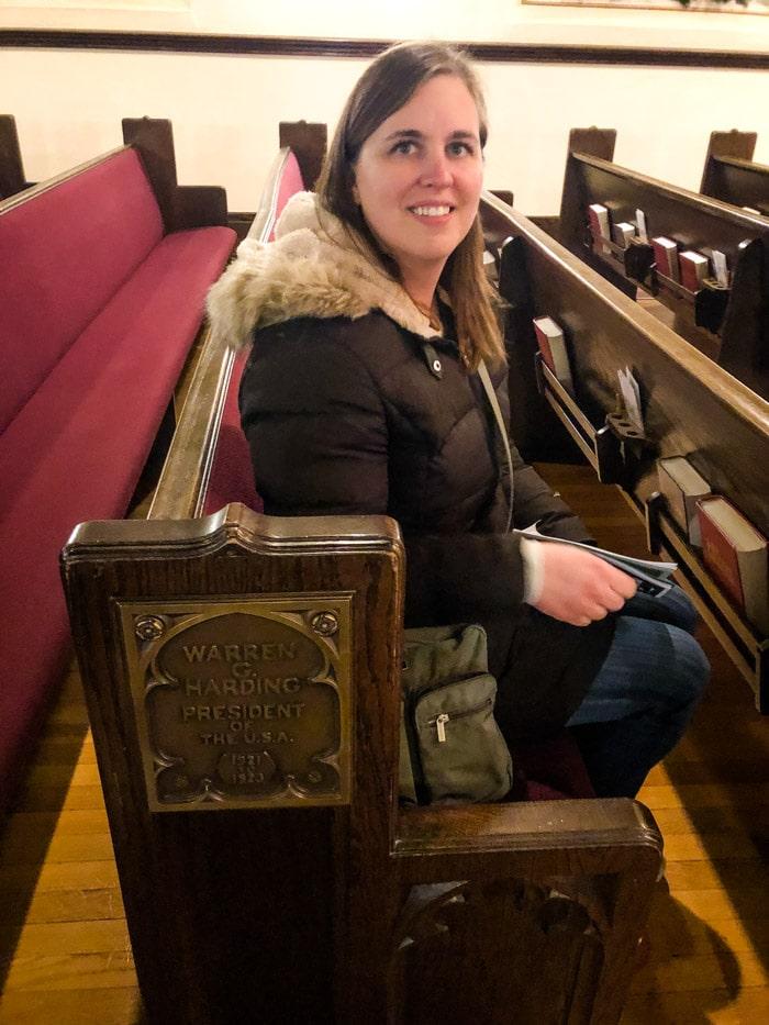 sitting in harding seat at church