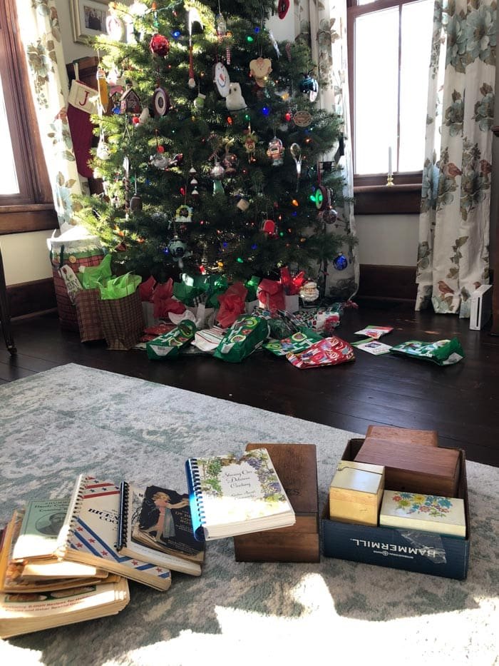 recipe books in front of tree