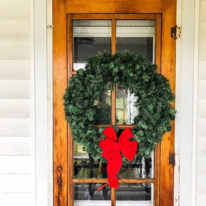 farmhouse door with wreath
