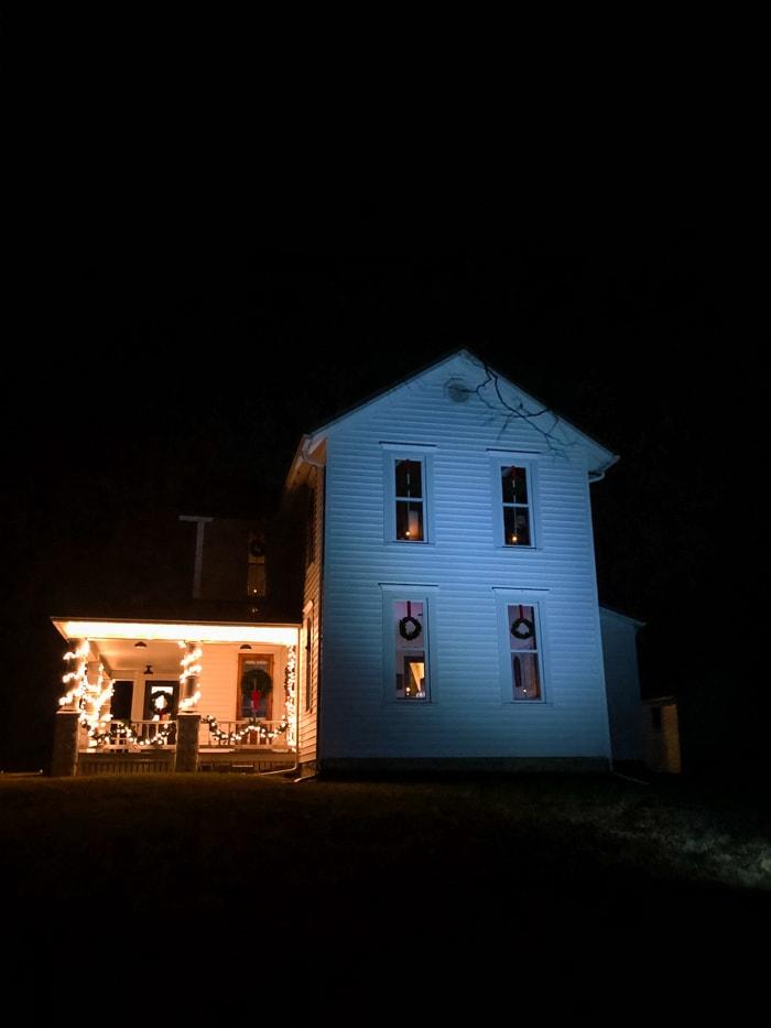 christmas lights on farmhouse