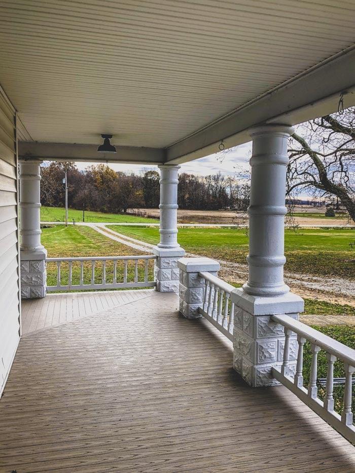 clean porch view from farmhouse