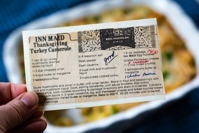 turkey casserole recipe card