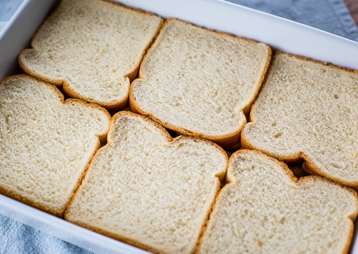 bread slices in baking pan
