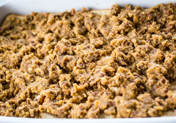 nutty topping on bread slices