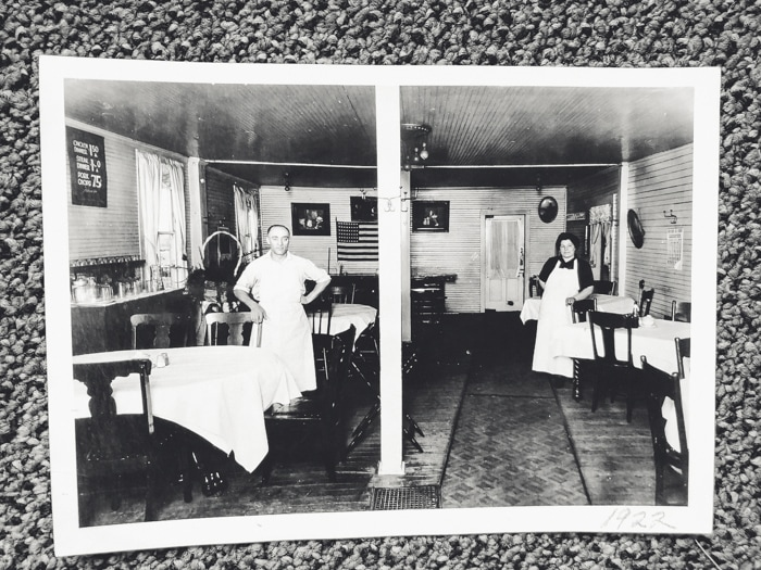 antique photograph of inside restaurant