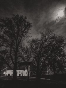 farmhouse in black and white