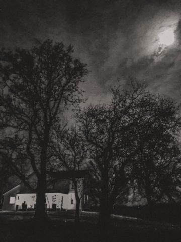 farmhouse in black and white