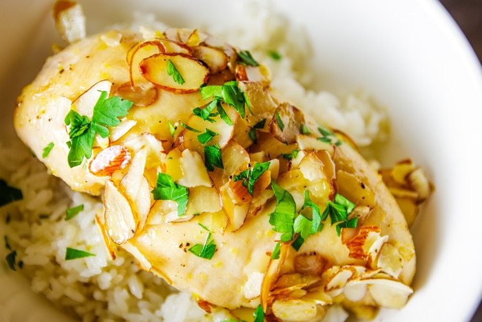baked maple glazed chicken in bowl with rice