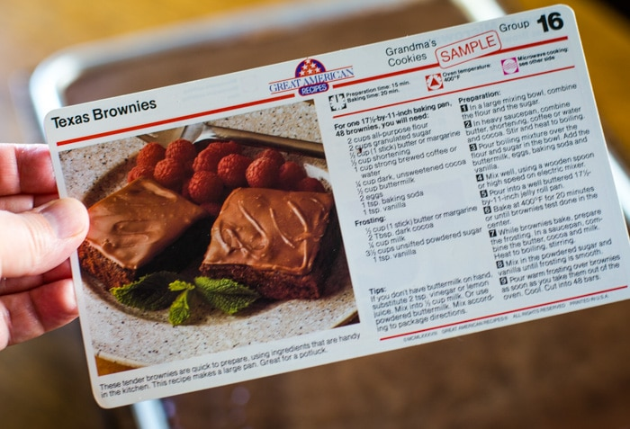 recipe card for texas brownies