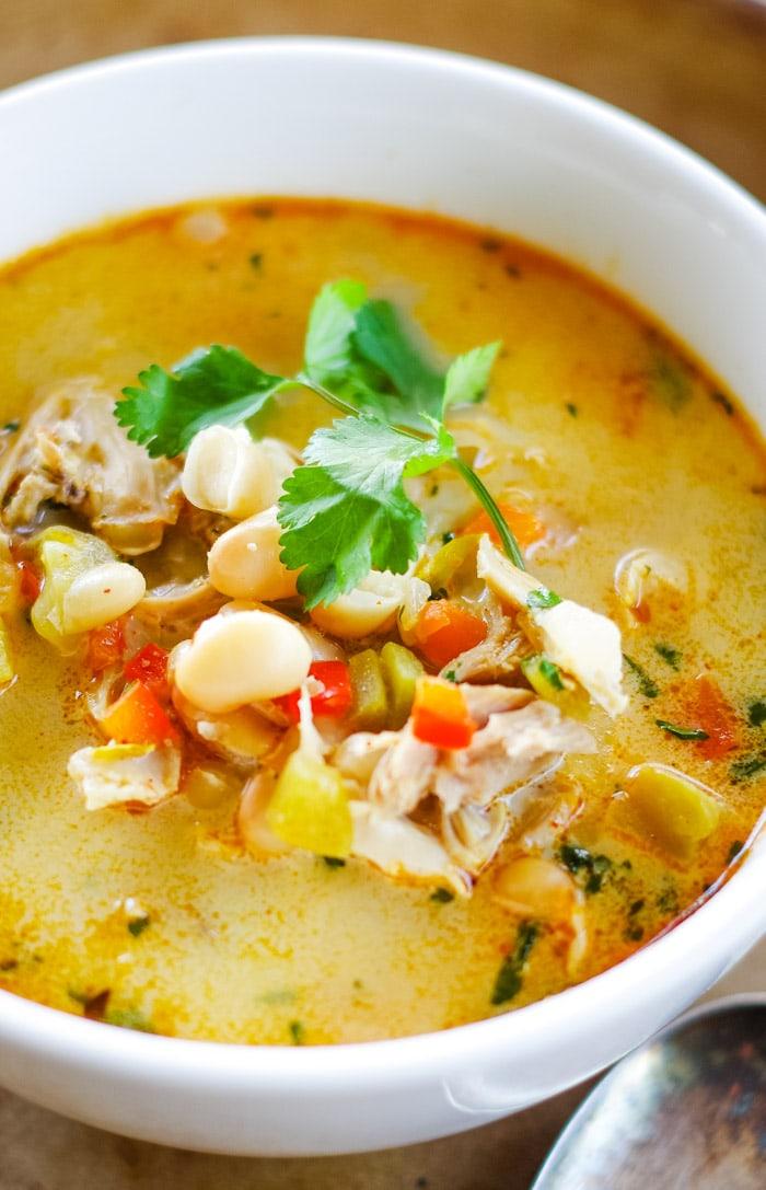 white chicken chili in bowl