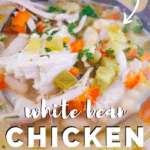white bean chicken chili in stockpot