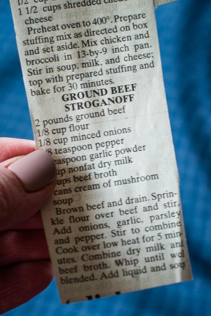 ground beef stroganoff recipe on newspaper