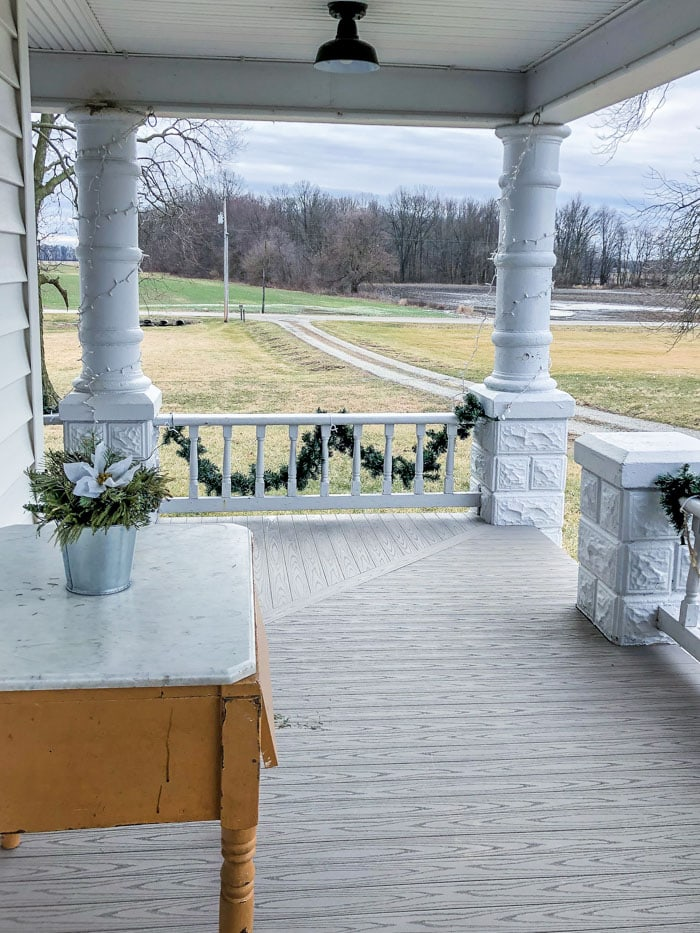 front porch of farmhouse