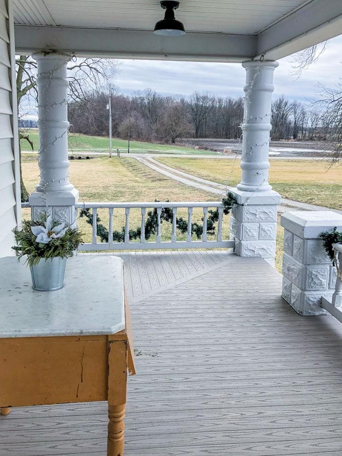 front porch of farmhouse