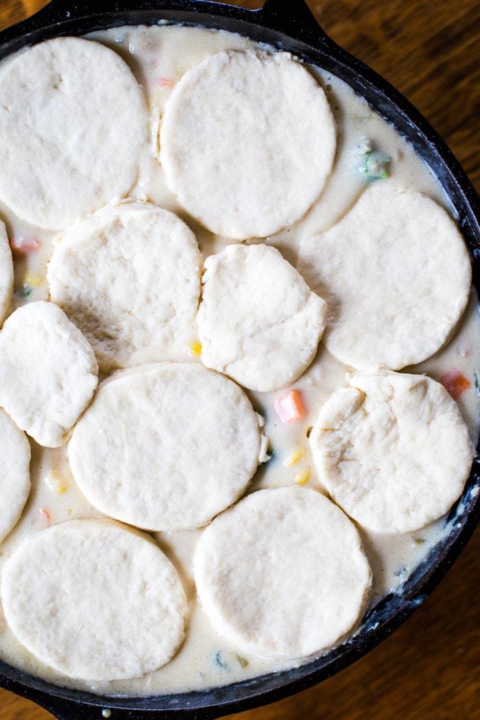 biscuits on chicken pot pie filling