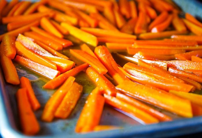carrots on baking pan to roast