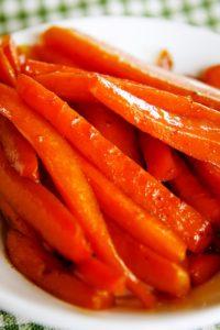maple glazed carrots in bowl