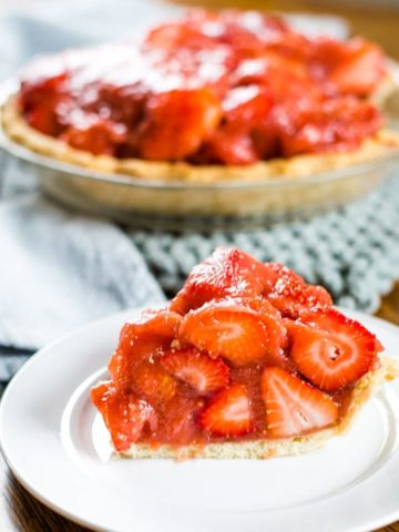 fresh strawberry pie on plate