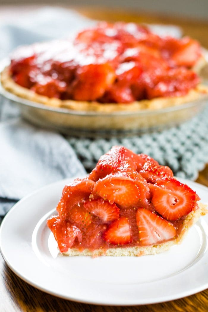 fresh strawberry pie on plate