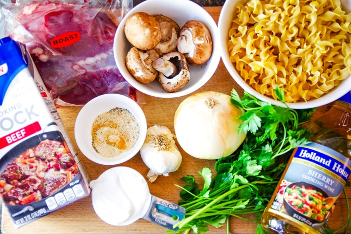 venison stroganoff ingredients of mushrooms, sherry, egg noodles and more