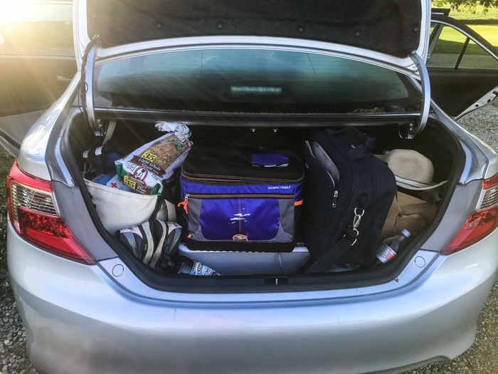 packed trunk of car