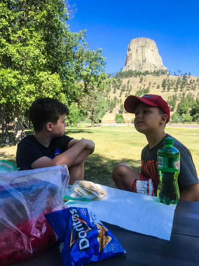 lunch at Devil's tower