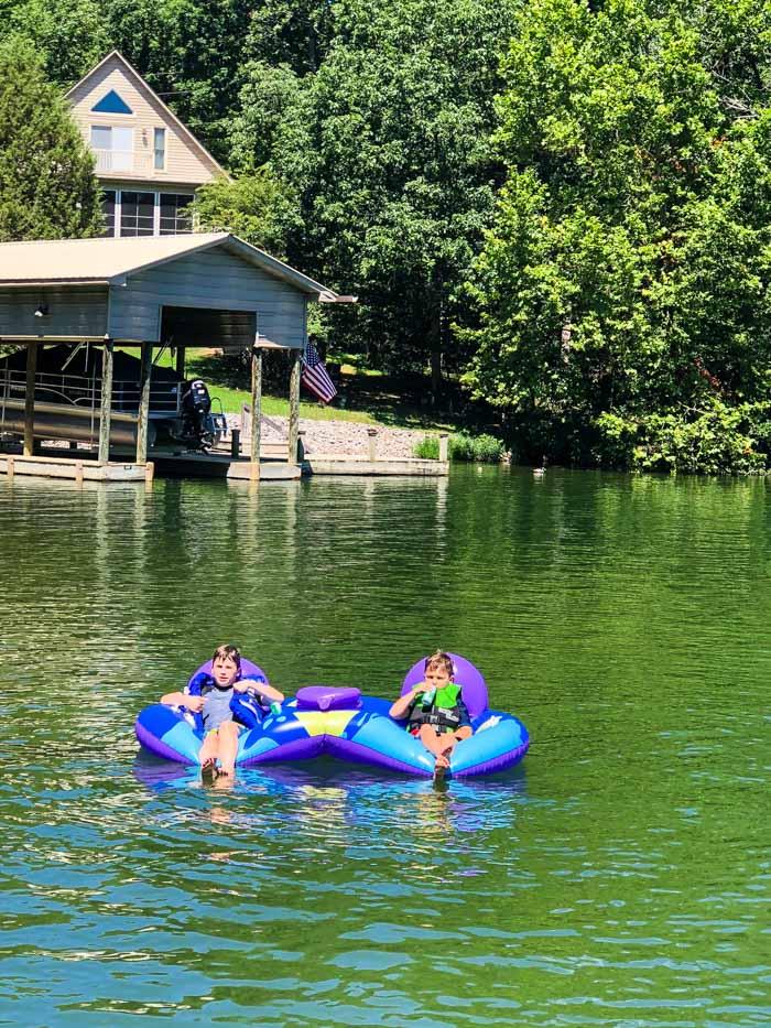 boys on lake