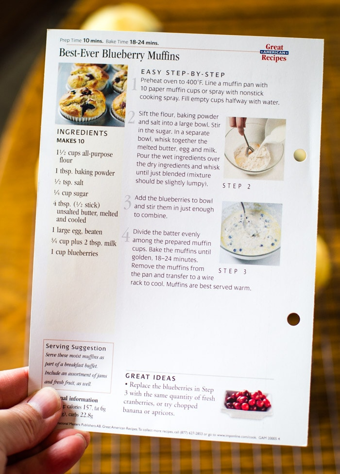 vintage blueberry recipe card