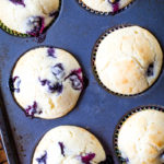 blueberry muffins in muffin pan